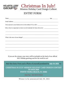 Christmas in July entry form